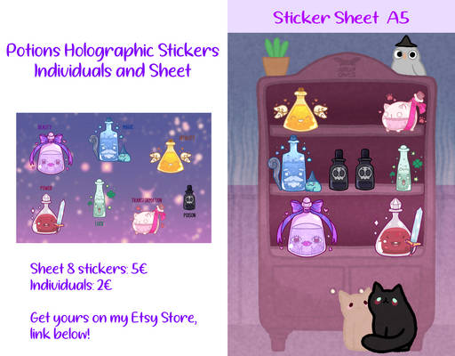 Potions Holographic Stickers | Individual and Shee
