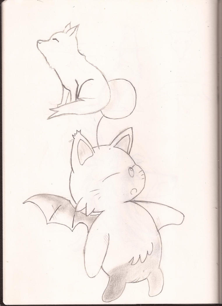 Little Moogle with a fox - Scetch by KitaruNaraku