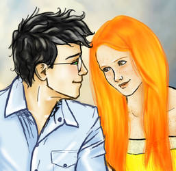 Harry and Ginny - Summer at the Burrow Closeup by Elwy