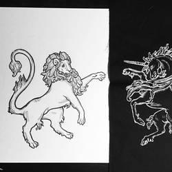 Inktober 9 - Lion and Unicorn