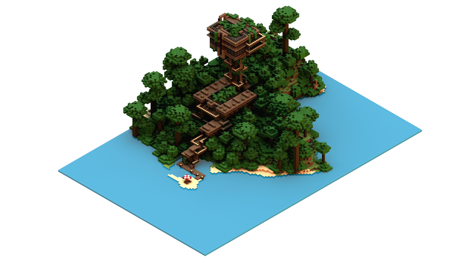 Version 2 Isometric Minecraft Jungle House By