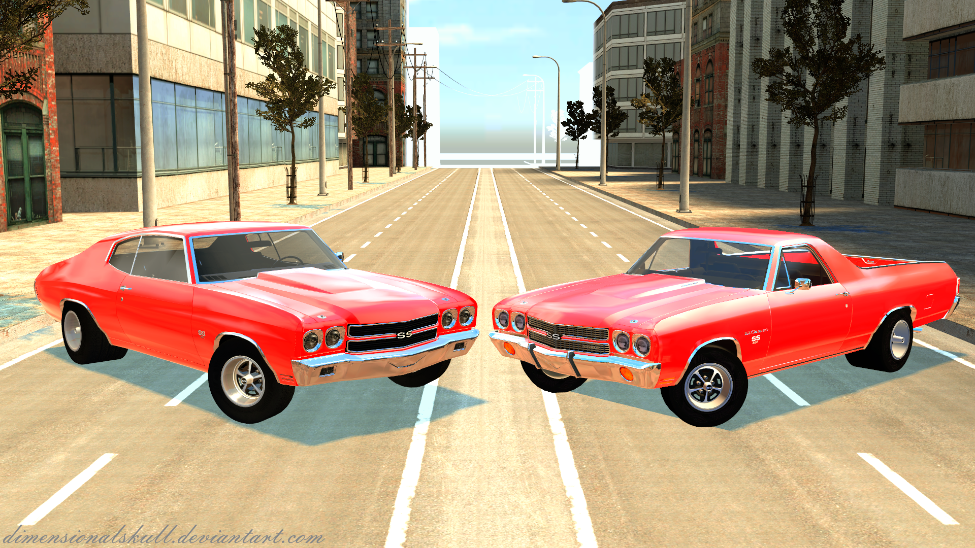 Chevelle Vs El Camino Muscle Car meeting remake by