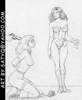 Liberty Belle and Wonder Woman captured by...? by SatyQ
