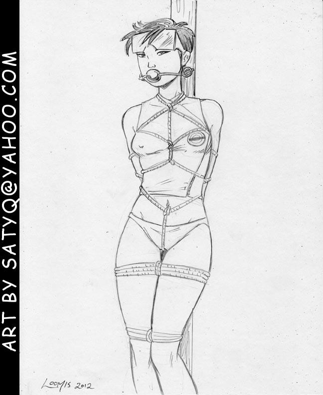 X-Men Jubilee tied to post in panties