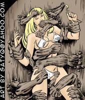 Magik in bikini getting grabbed by wall golems by SatyQ