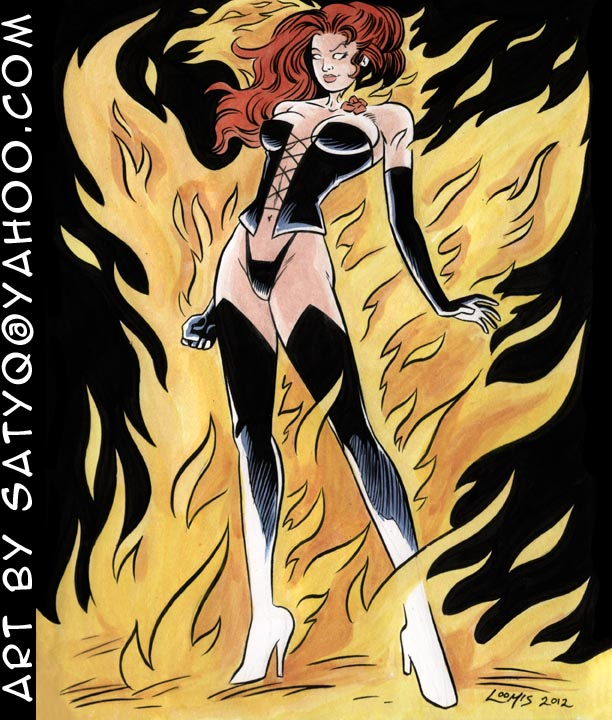 Jean Grey Black Queen/ Dark Phoenix transformation by SatyQ