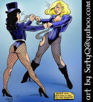 Zatanna vs Black Canary Fishnet Wars by SatyQ