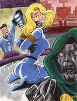 Fantastic Four vs. Doctor Doom by SatyQ
