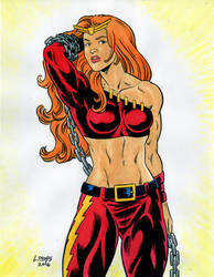 Thundra from Marvel Comics color commission by SatyQ
