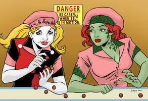Harley Quinn and Poison Ivy doing I Love Lucy skit
