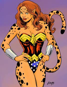 Cheetah wearing Wonder Woman's costume