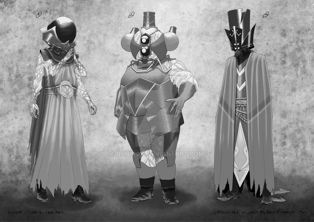 Elder Council Line Art by RONIN013