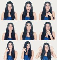 a girl with nine face