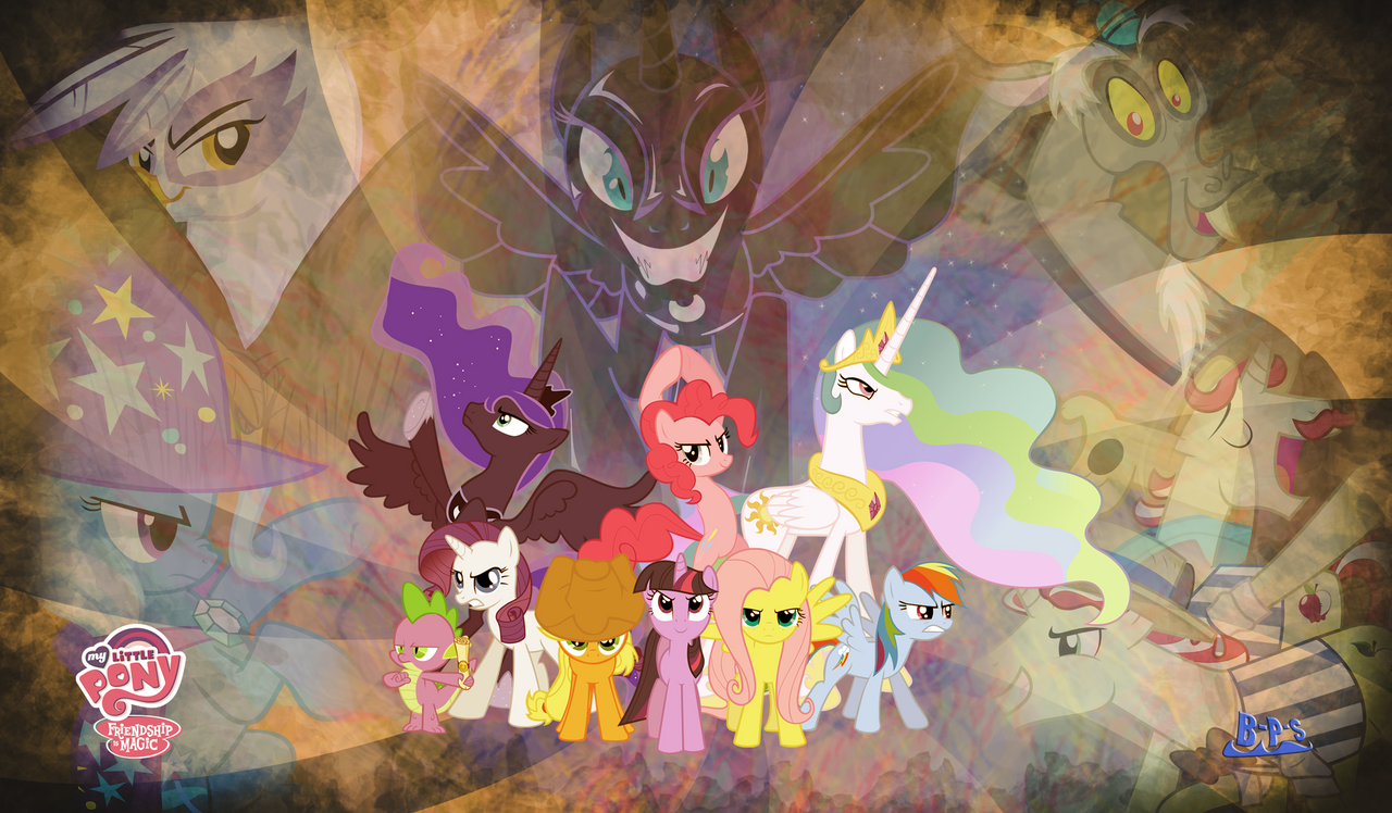 MLP FiM Wallpaper - Heroes vs Villans by Blue-Paint-Sea