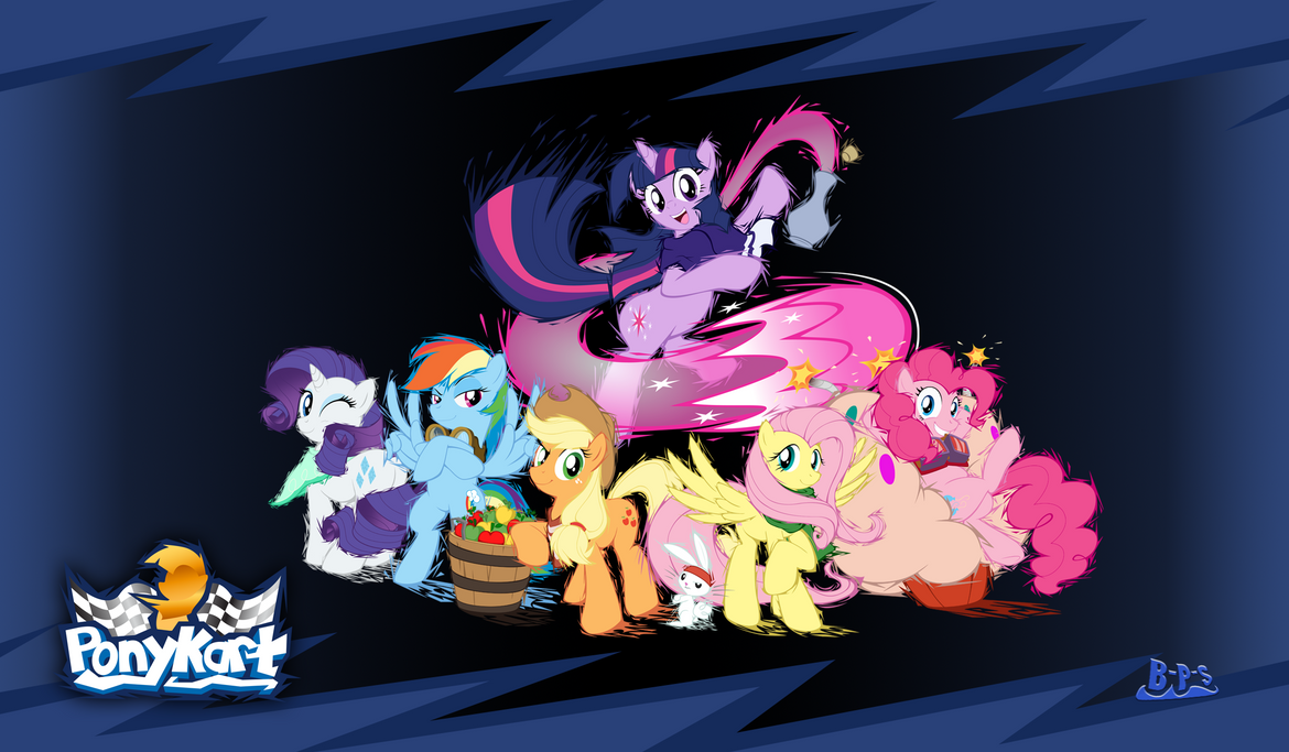 PonyKart Mane 6 Wallpaper by Blue-Paint-Sea