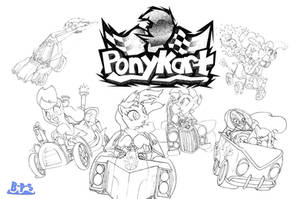 PonyKart Title Screen Concept (unfinished) by Blue-Paint-Sea