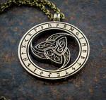 Vikings Odin Triskele Three Horns brass pendant