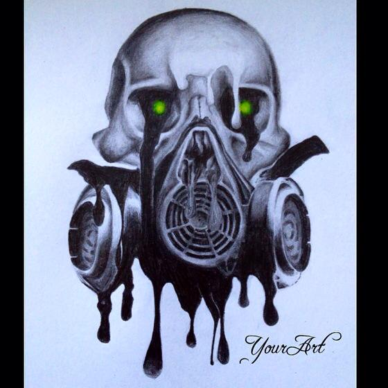 Skull With Gas Mask By Merle Bobi