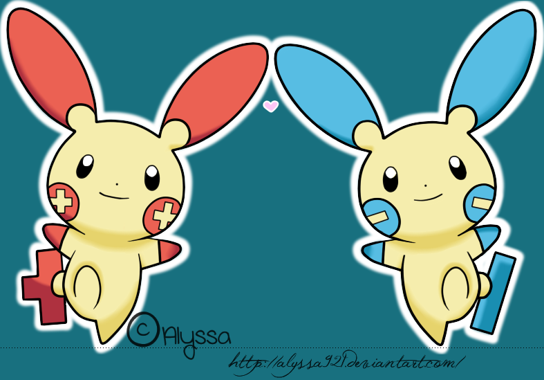 Plusle and Minun by Alyssa921Plusle And Minun