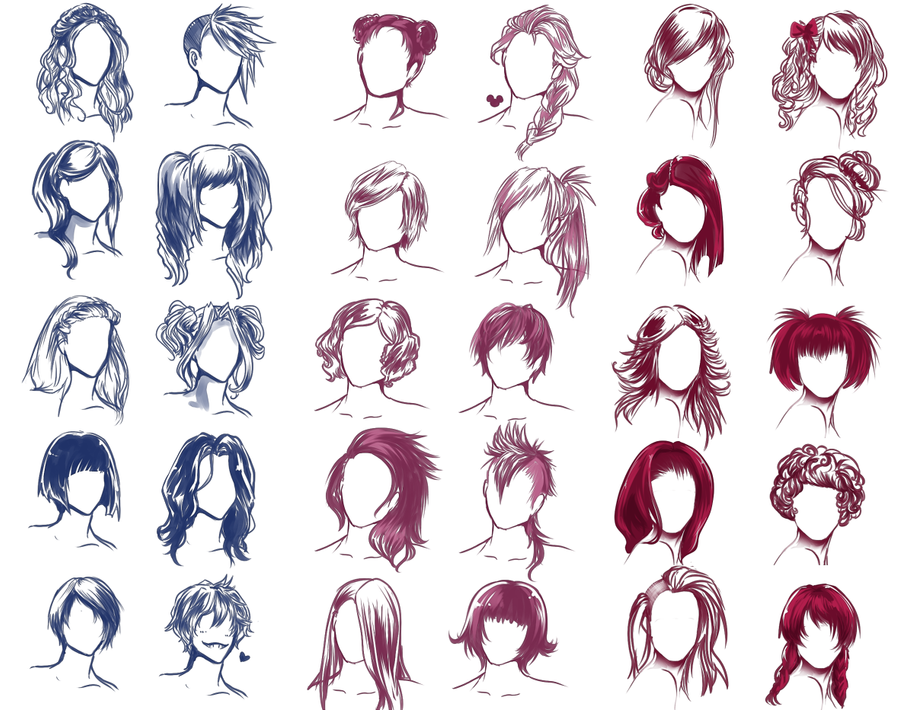 Hairstyle Drawings : REALLY WANTED TO DRAW SOME HAIR STYLES by Solstice-11 on DeviantArt