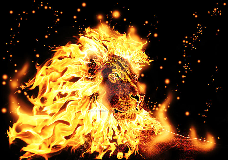 Leo Lion Tattoo Designs With Blue And Green Fire Mane