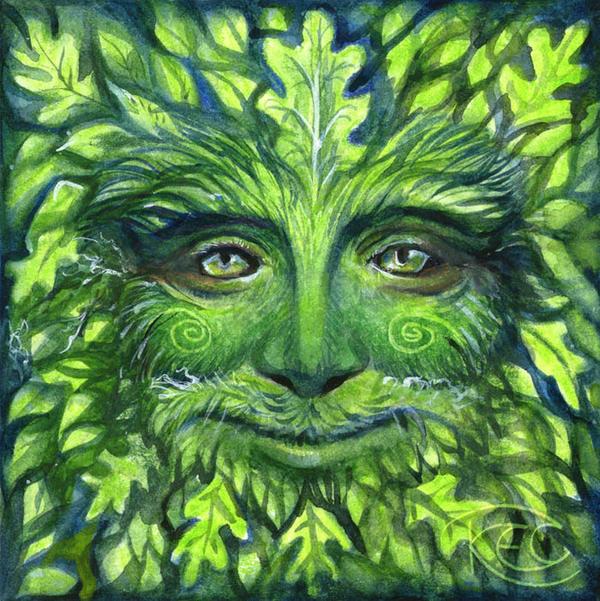 The Green Man by Kettl... Plain Wallpaper