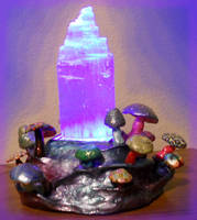 Selenite Stand with Mushrooms