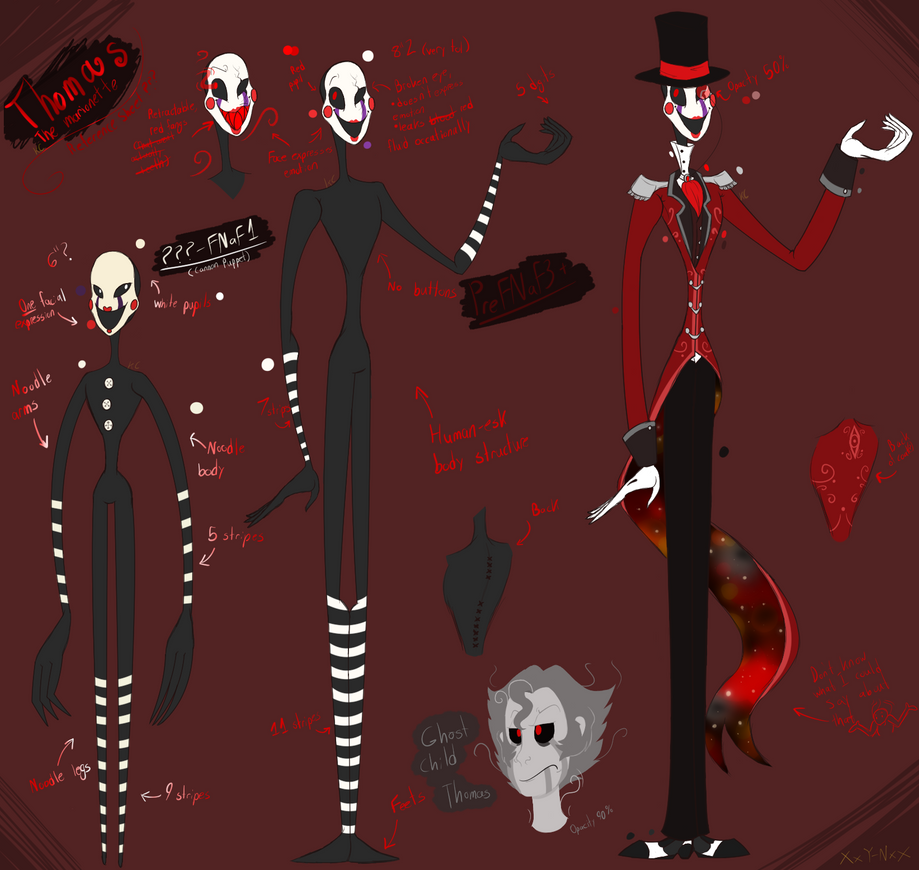 Thomas The Marionette {FNaF AU Reference Sheet} by XxYellow-NinjaxX101