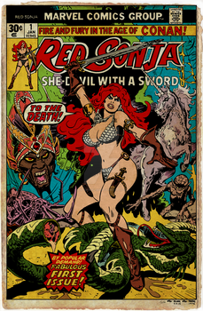Red Sonja 1 Cover Recreation by Dalgoda7 - Aged