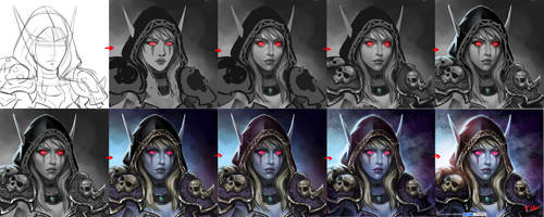 Step by step of Lady Sylvanas Windrunner