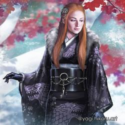 Lady Sansa Stark / Kimono of House Stark by yagihikaru