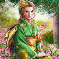 Queen Margaery in Kimono of House Tyrell by yagihikaru