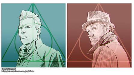 Grindelwald and Dumbledore by yagihikaru