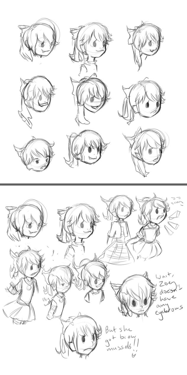 Sketch Dump: Zoey by DubiousTemp