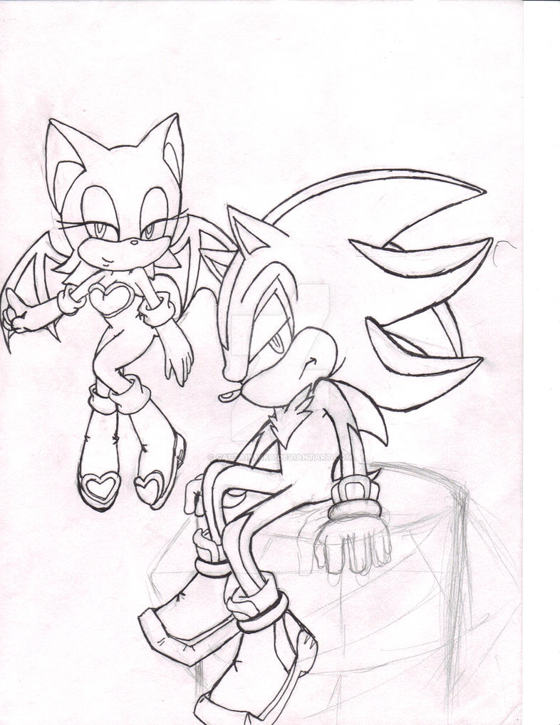 Sketch: Rouge and Shadow by CaptainMika