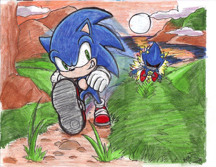 sonic vs metal :color pencil by CaptainMika