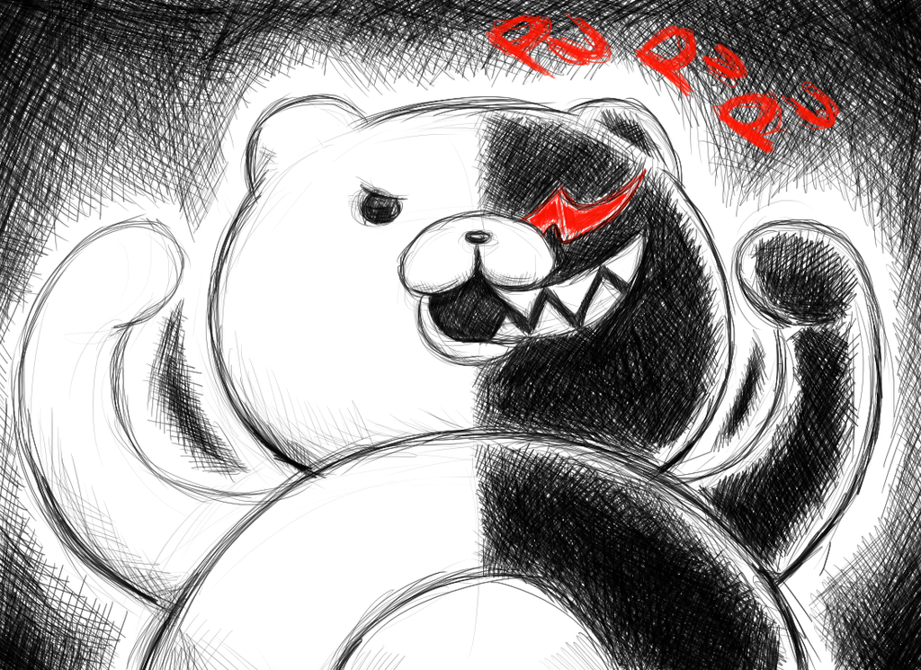 Monokuma - Scrosshatching by CaptainMika