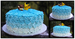Blue ombre birthday cake by Nazegoreng