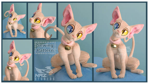 Sphynx Cat plush and sewing pattern