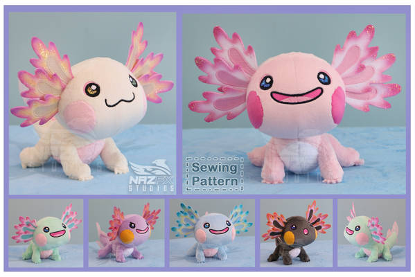 Axolotl plush and sewing pattern