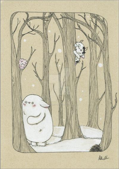Bostwick and Friends: Forest Winter scene by bohemiananimegirl
