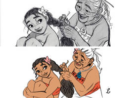 Moana and her Grandmother