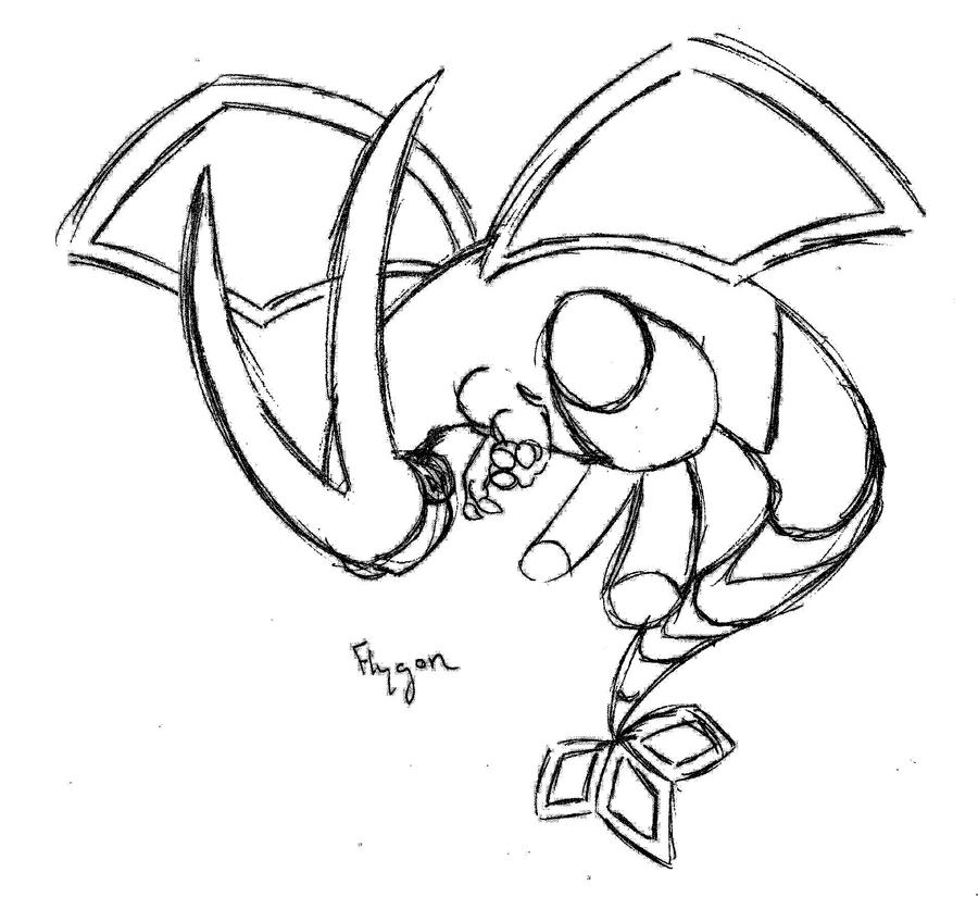 Chibi flygon lineart by majykal melodi on deviantart for Flygon coloring pages