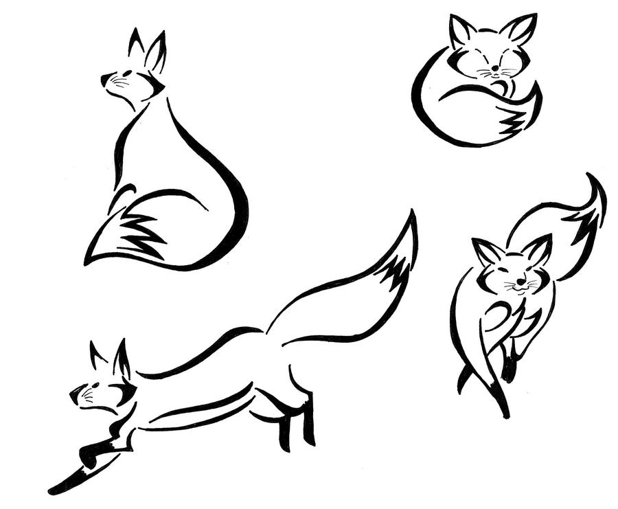 Easy D Line Drawings : Fox tribals by majykal melodi on deviantart