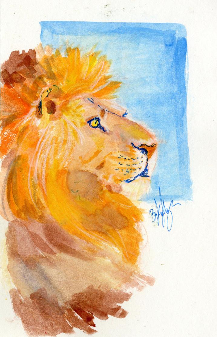 Watercolor Lion by Majykal-Melodi