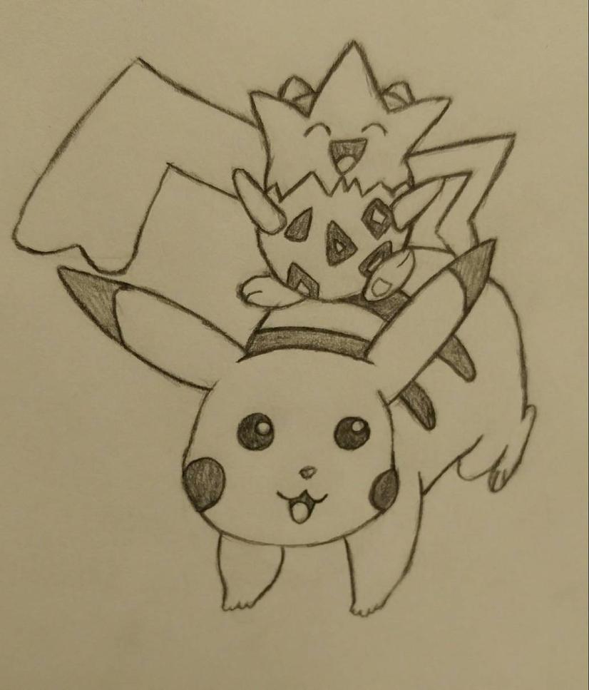 Pikachu and Togepi by TheKittyKatt277