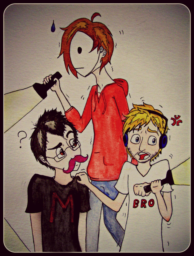 Markiplier, Pewds and Cry :3 by LittleRed132