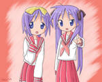Kagami and Tsukasa Hiiragi