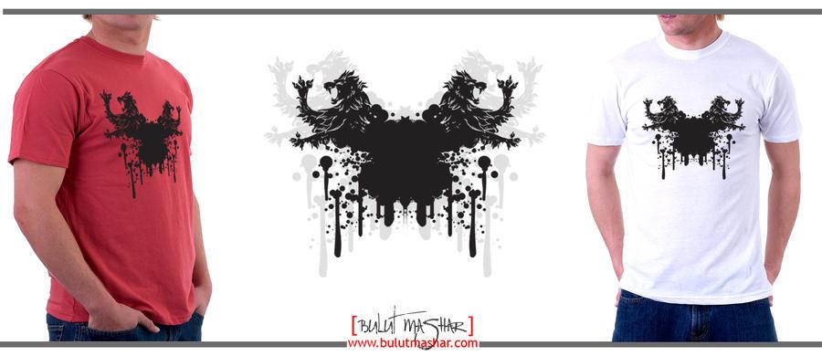 Siyah Aslan Grafik Cizim- (Erkek) T-Shirt by BulutMashar