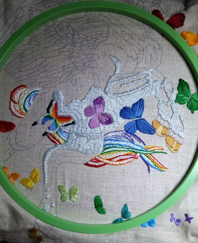 20150801 Work in Progress Pegasus and Butterflies by Miriya411